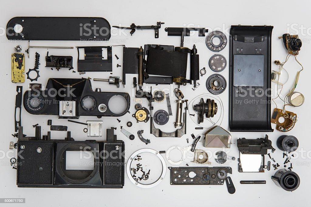photo camera disassembled parts stock photo