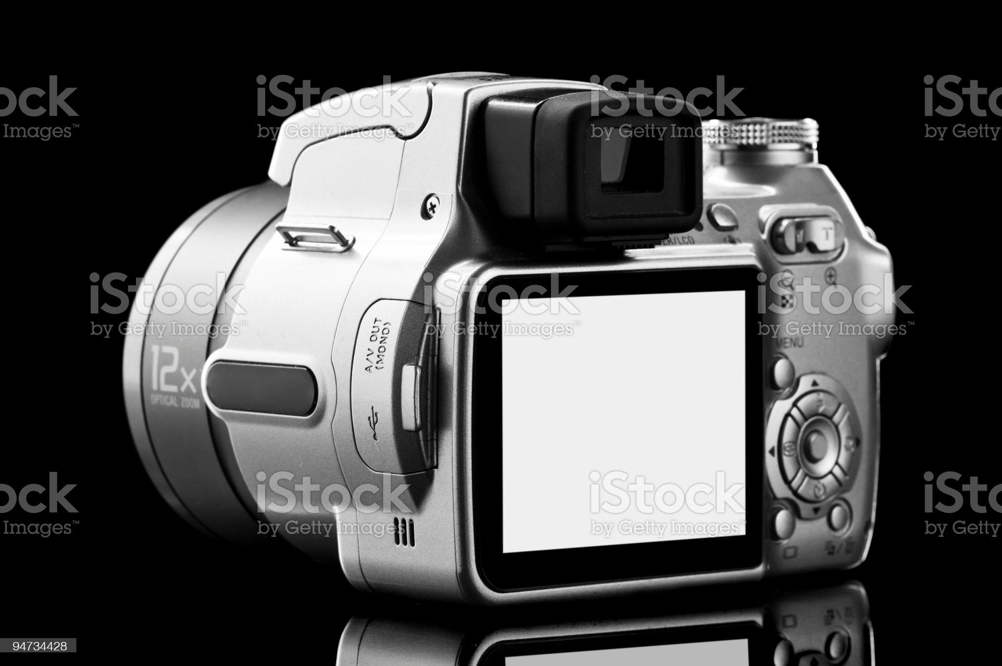 photo camera isolated on black royalty-free stock photo
