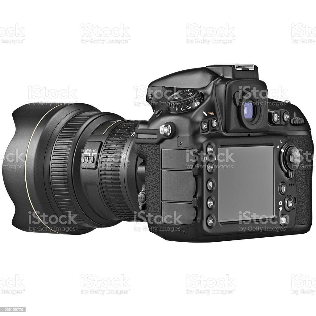 DSLR photo camera, LCD display stock photo