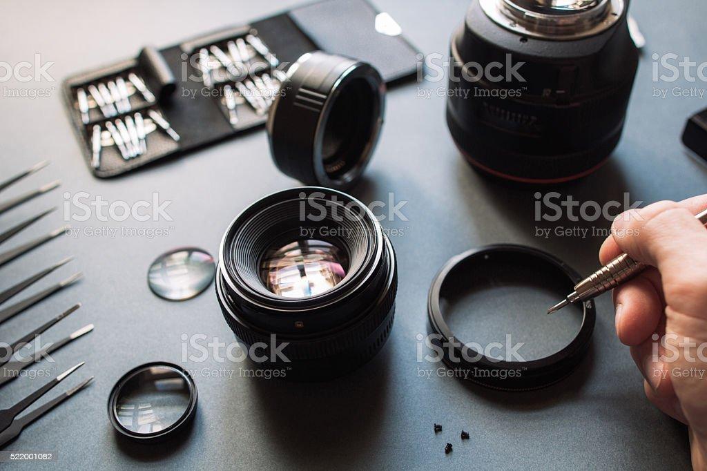 Photo camera lens repair and maintenance set stock photo