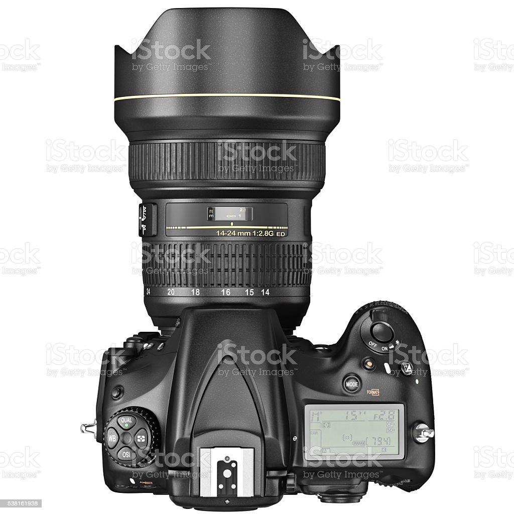 DSLR photo camera, top view stock photo