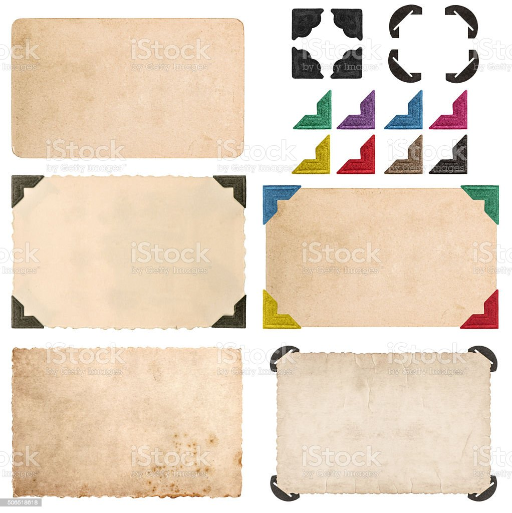 Photo card with corner. Picture frames stock photo