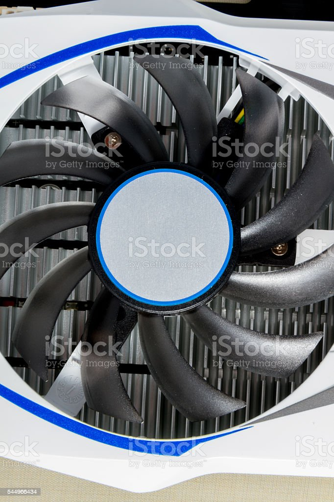 Photo close-up of the cooler on the graphics card stock photo
