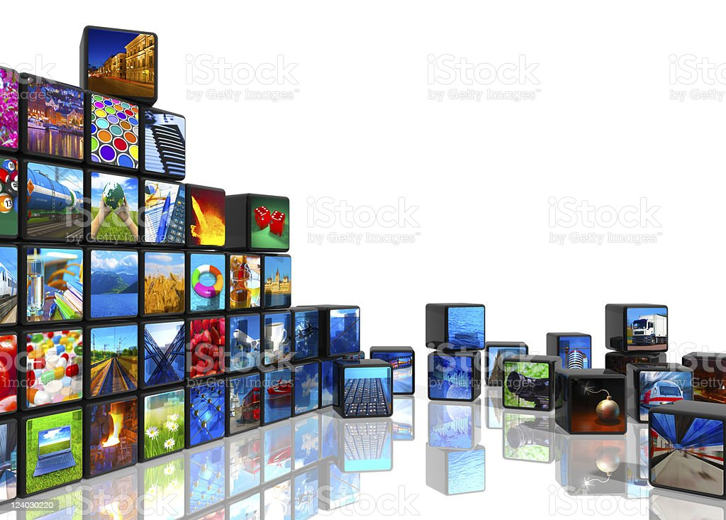 Photo collage from cubes with pictures stock photo