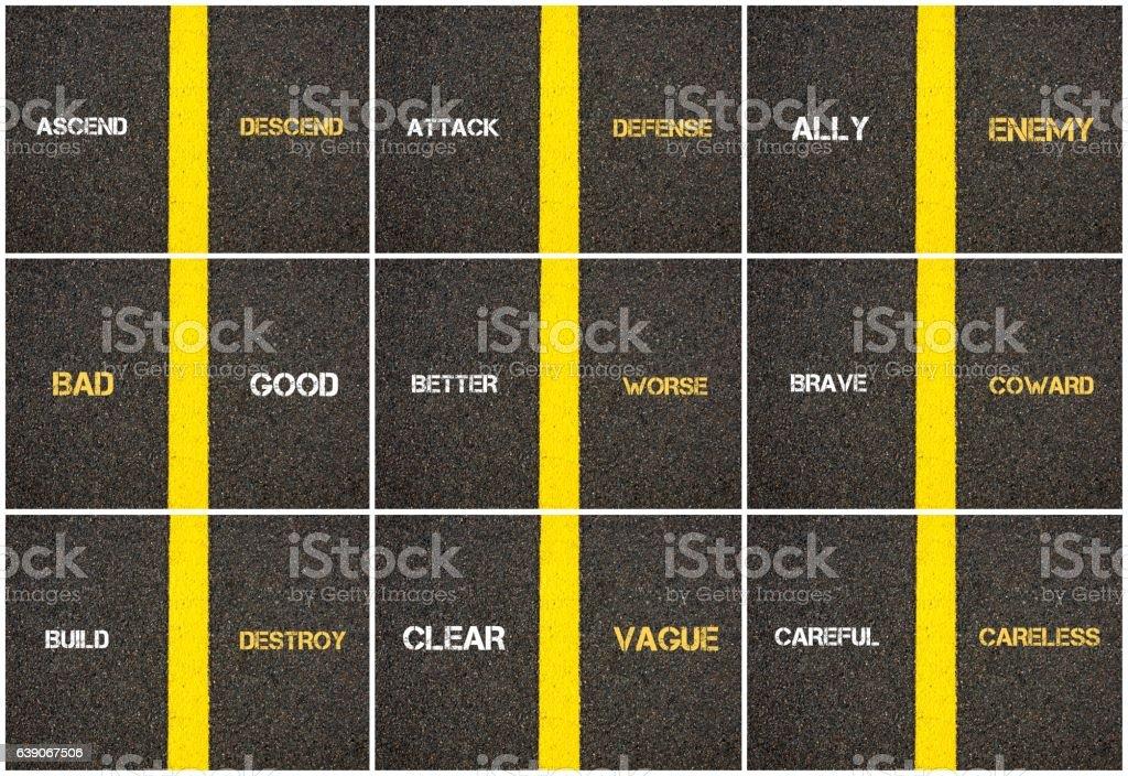 Photo collage of antonym concepts written over tarmac stock photo