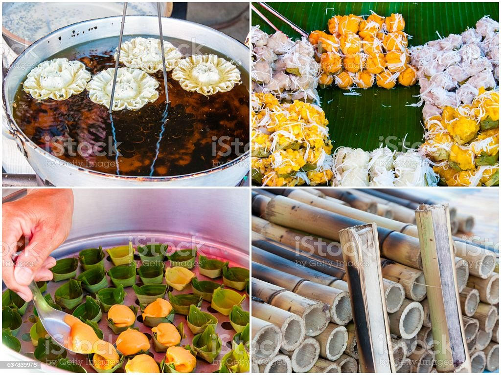 Photo collage of Authentic Thai Food stock photo