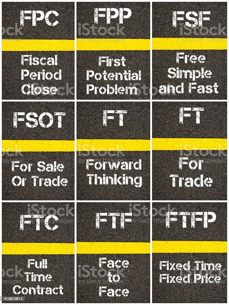 Photo collage of Business Acronyms stock photo