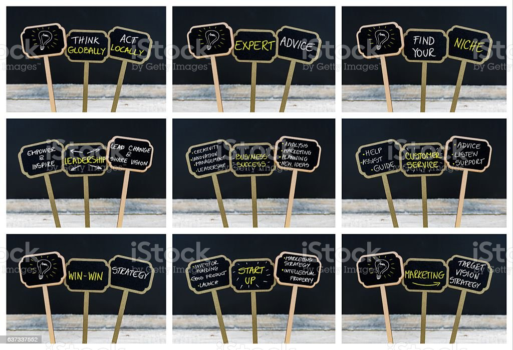 Photo collage of concept messages written with chalk on blackboards stock photo