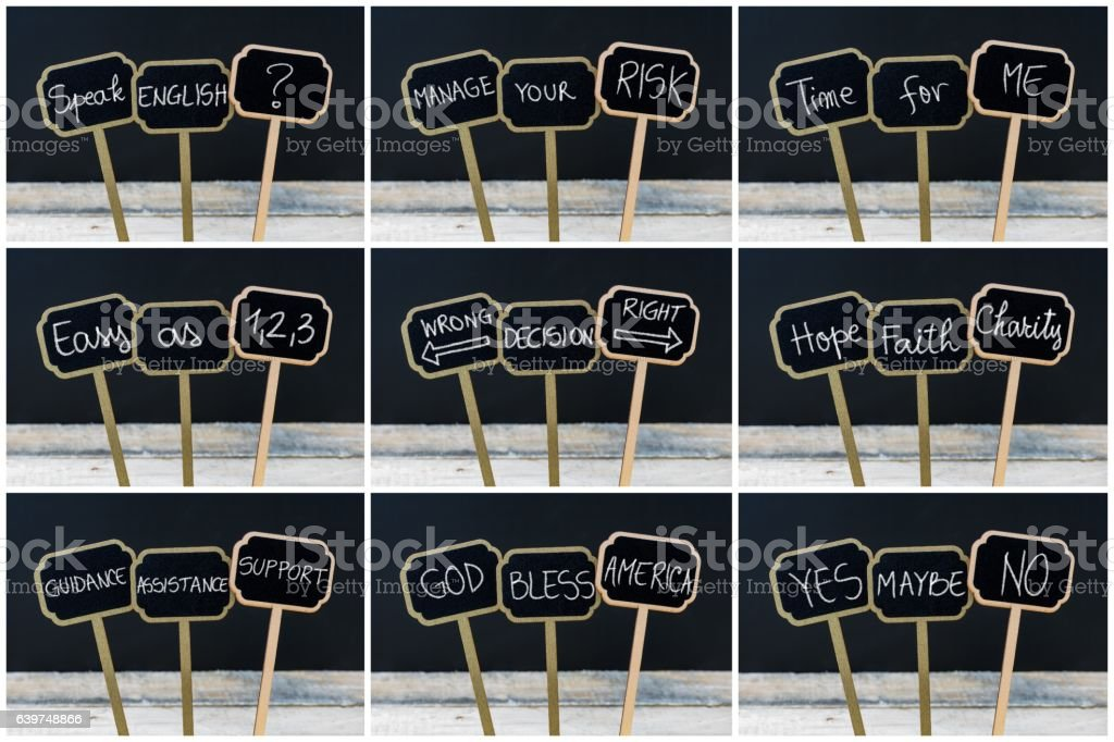 Photo collage of concept messages written with chalk stock photo