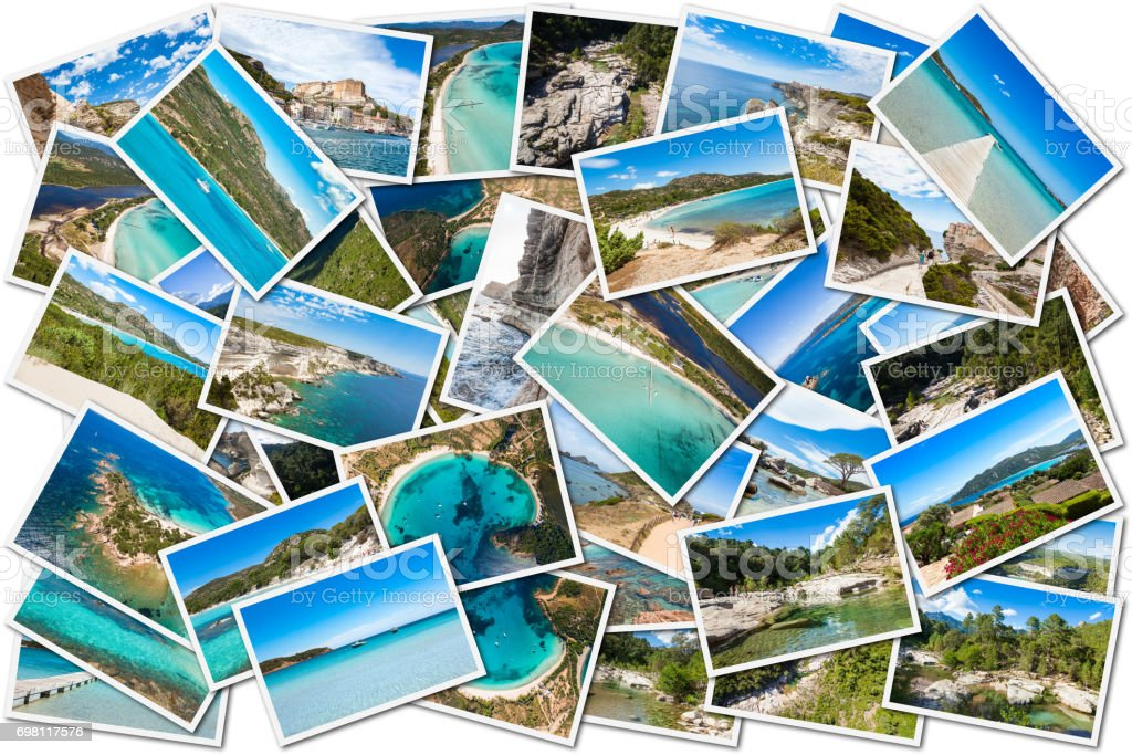 Photo collage of Corsica landscape in France stock photo