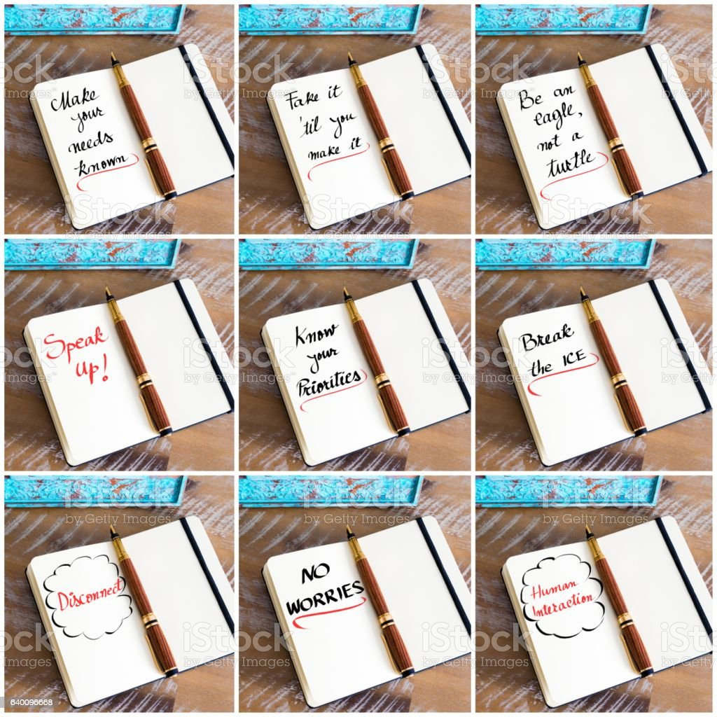 Photo collage of handwritten business motivational messages stock photo