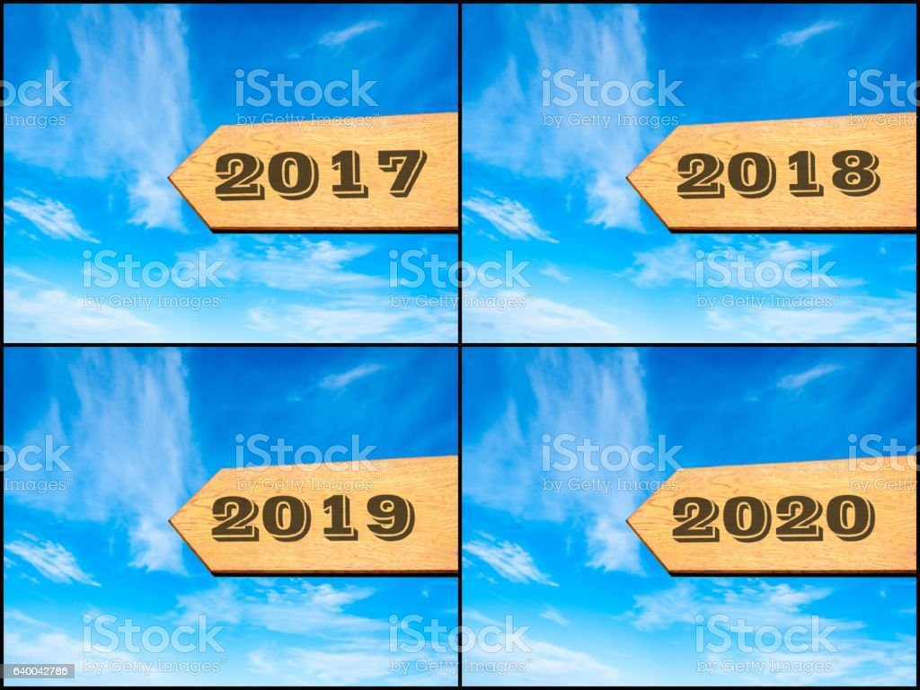 Photo collage of images with arrow over blue sky stock photo