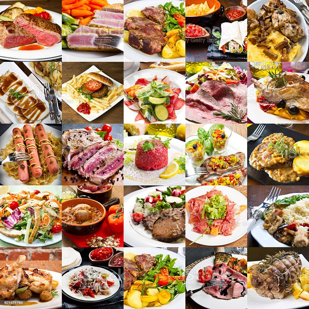 photo collage of meat international cuisine stock photo