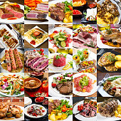 photo collage of meat international cuisine