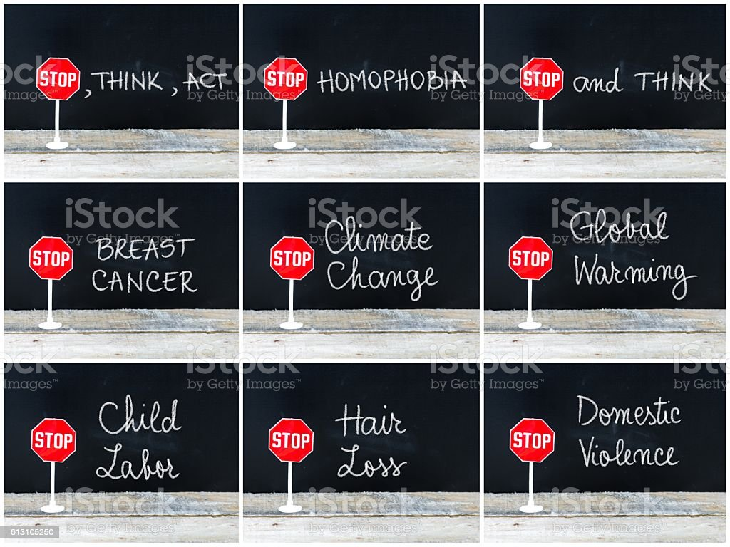 Photo collage of STOP messages written on chalkboard stock photo