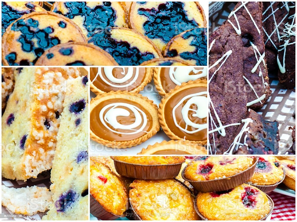 Photo collage of traditional British cakes stock photo