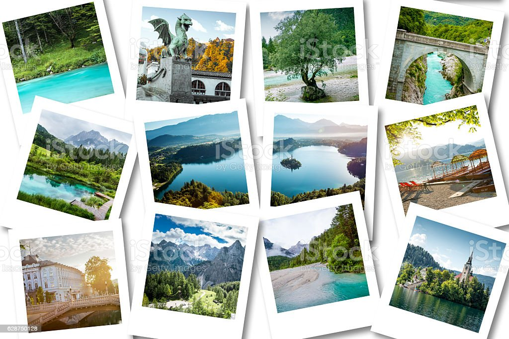Photo collage showing memories from Slovenia stock photo