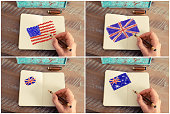Photo collage with United States, Australia and United Kingdom flags