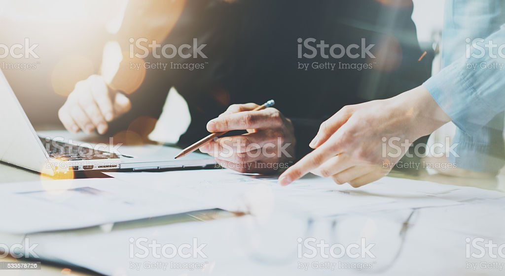 Photo Coworkers Team Working Modern Office.Man Using Generic Design stock photo