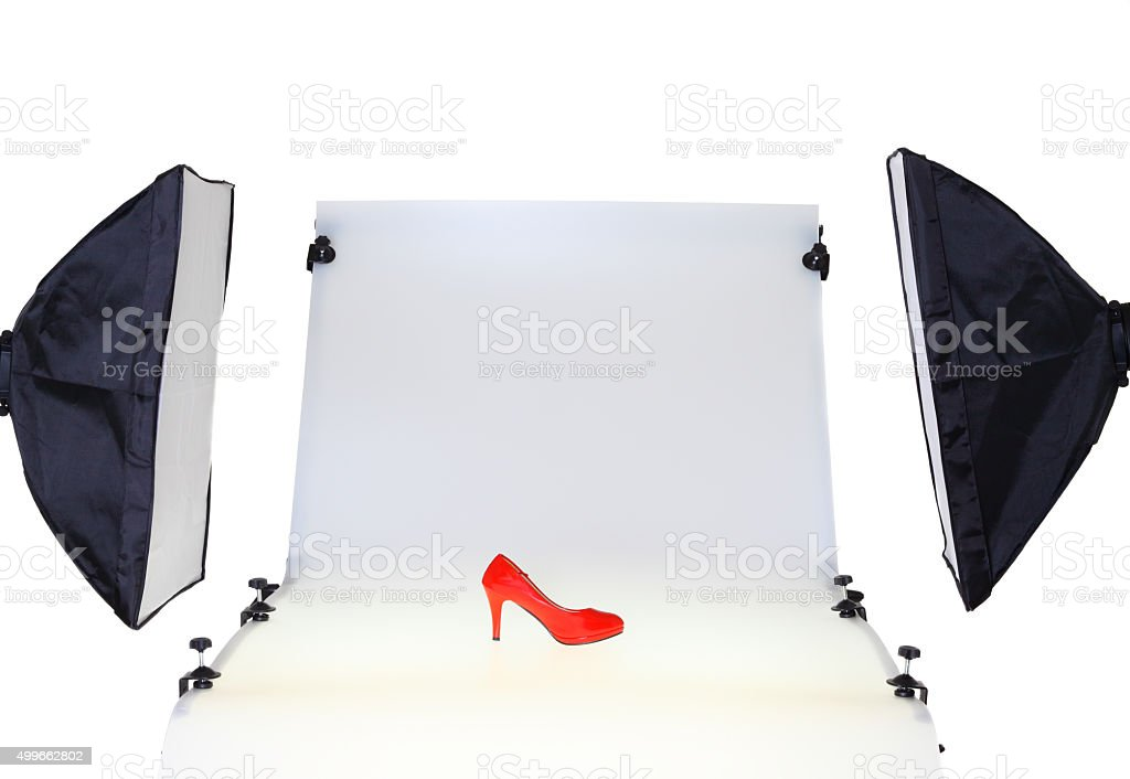 Photo Desk in the photo studio - cut out stock photo