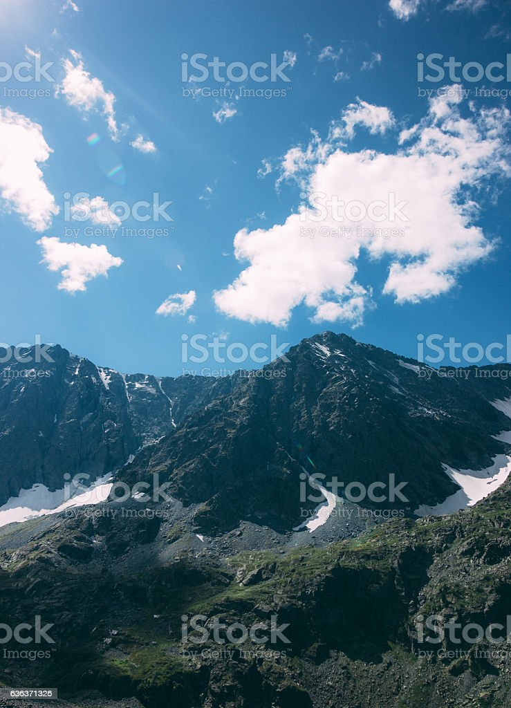 Photo film colors dark mountains on sunny day shining stock photo