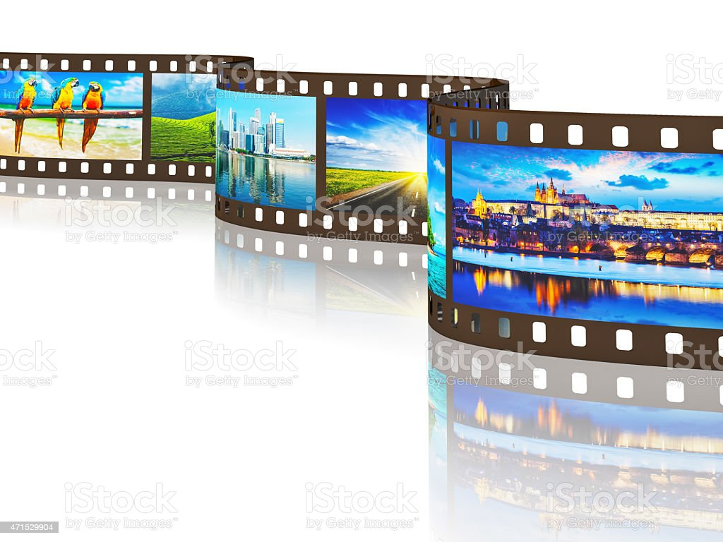 Photo film of travel images with reflection stock photo