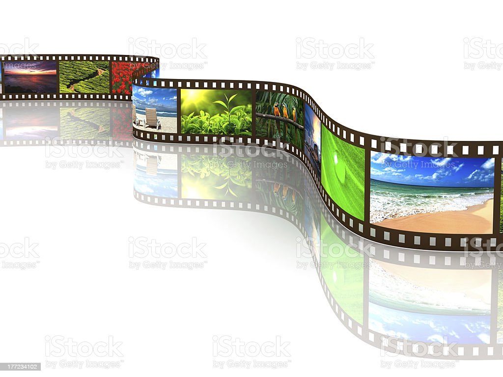 Photo film of various scenery with reflection on white stock photo
