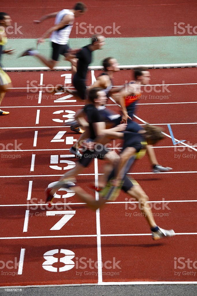 Photo finish of a track race stock photo