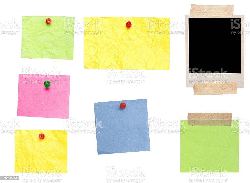 photo frame and colored empty notes stock photo