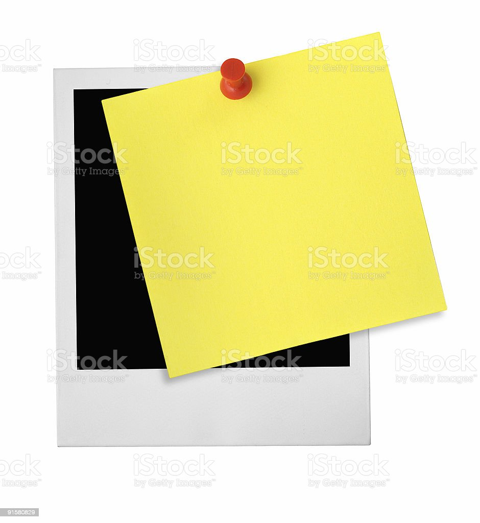 photo frame and yellow note stock photo