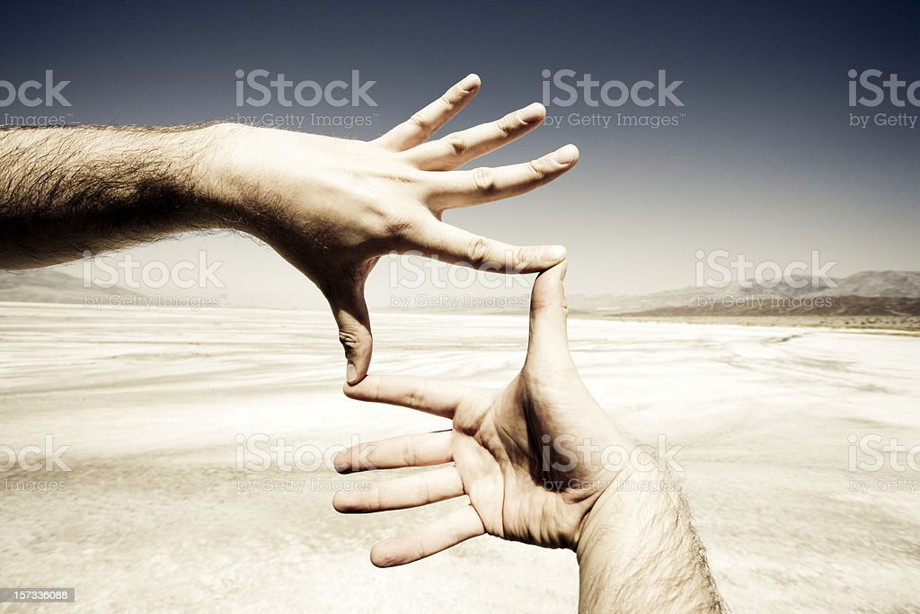 Photo Frame Hands, Death Valley. royalty-free stock photo