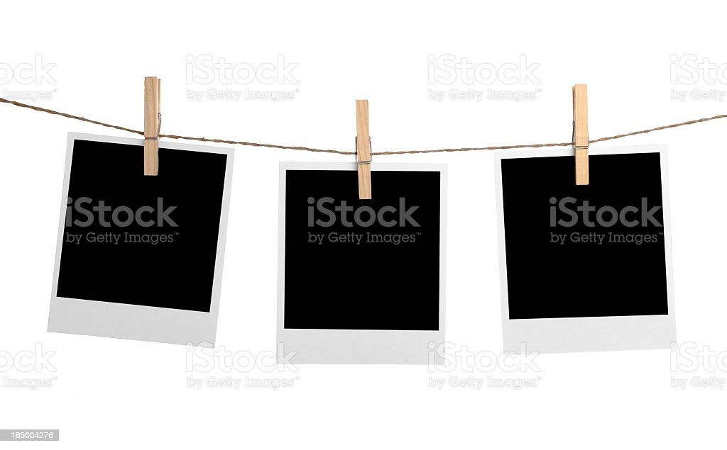Photo frame hanging in rope cord stock photo