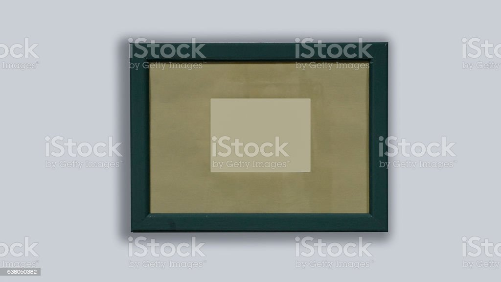 photo frame is hanging on a white background stock photo