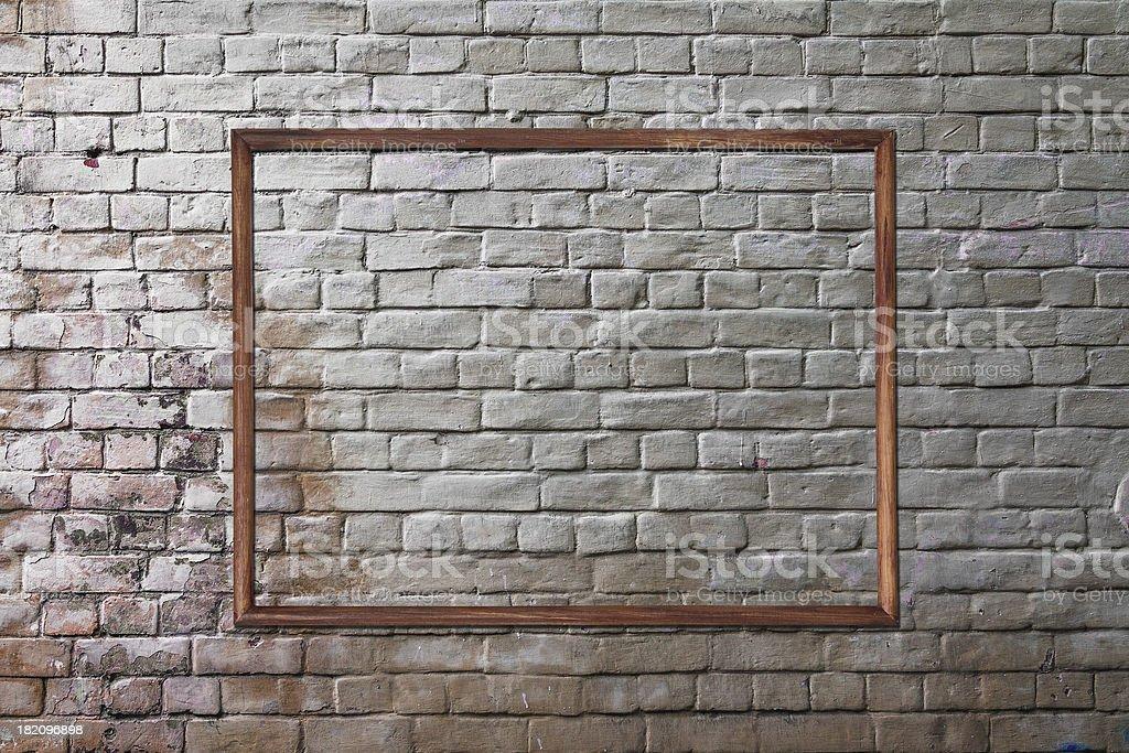 photo frame on brick wall royalty-free stock photo
