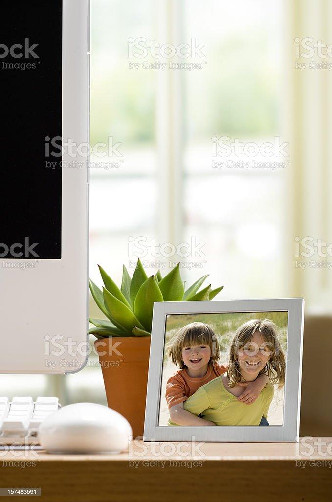 Photo Frame on Work Desk stock photo
