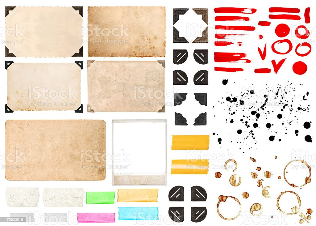 Photo frames with corners, tape strips, stains and strokes stock photo