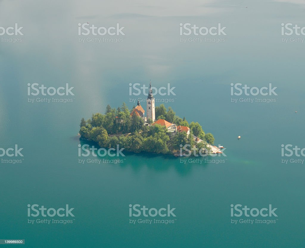 Photo from air perspective, Bled lake with island royalty-free stock photo