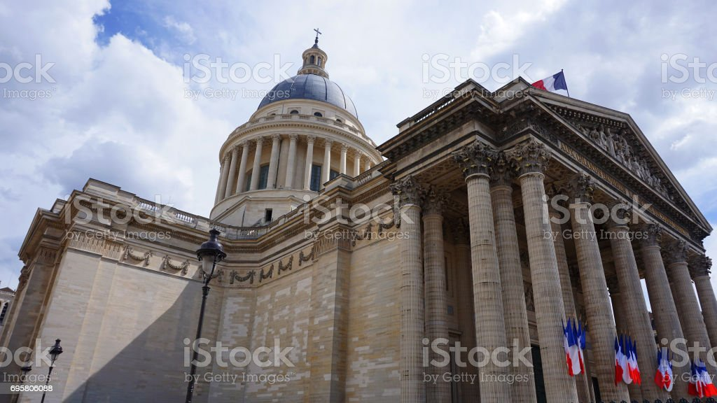 Photo from iconic Pantheon on a cloudy spring morning, Latin Quarter, Paris, France stock photo