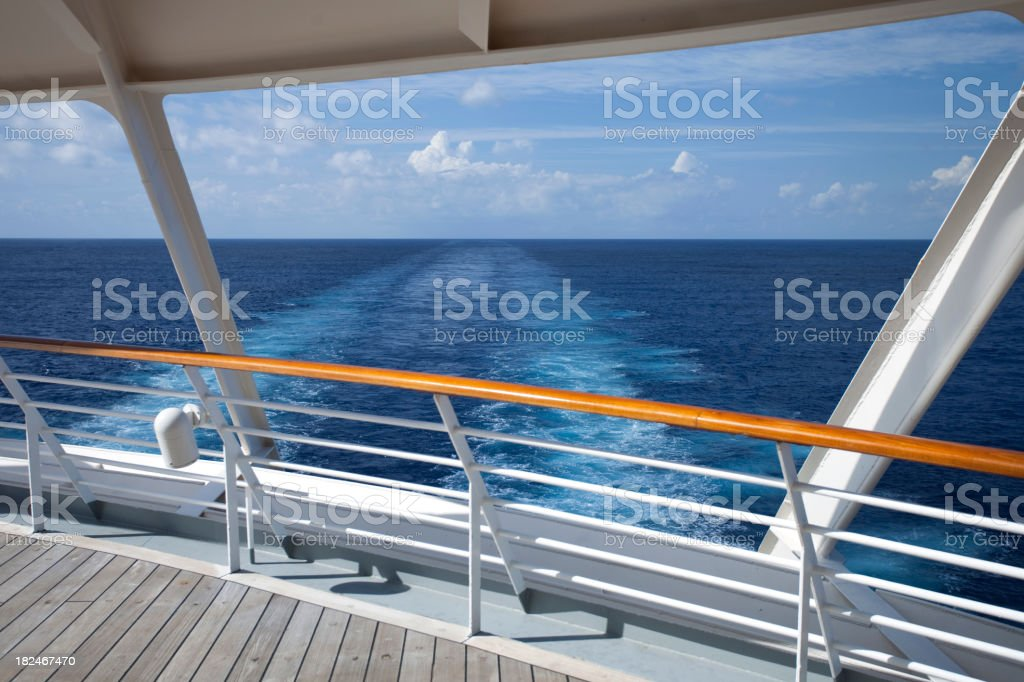 Photo from the wooden deck of a Caribbean Cruise royalty-free stock photo