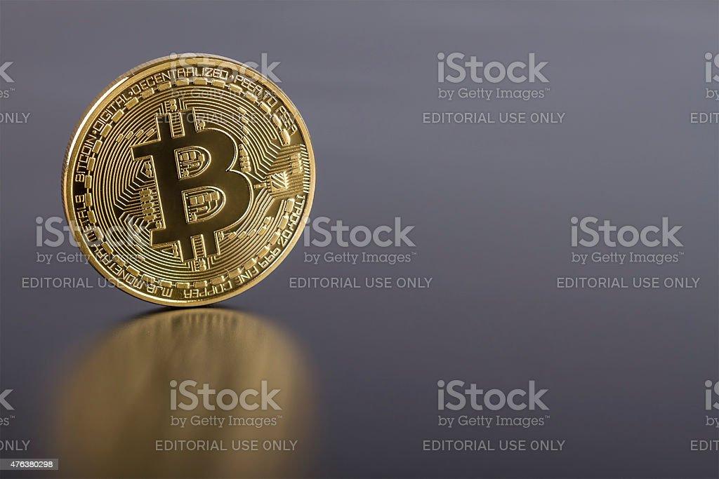 Photo Golden Bitcoin (new virtual money ) stock photo