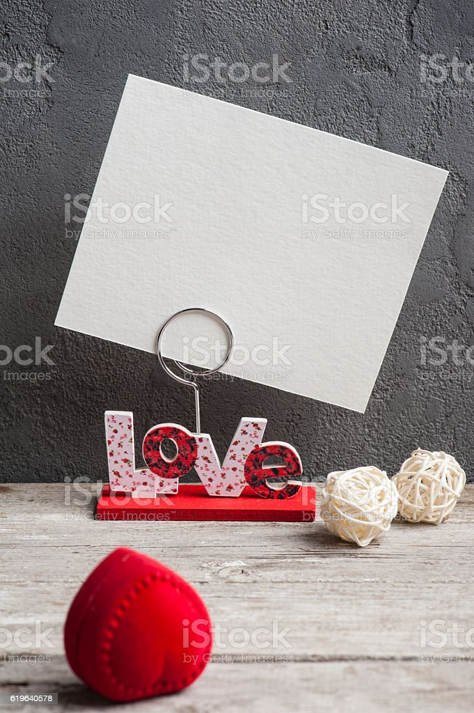 Photo holder with word Love stock photo