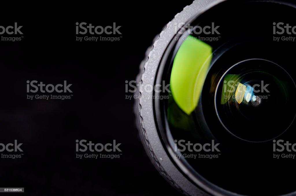 Photo Lens on black stock photo