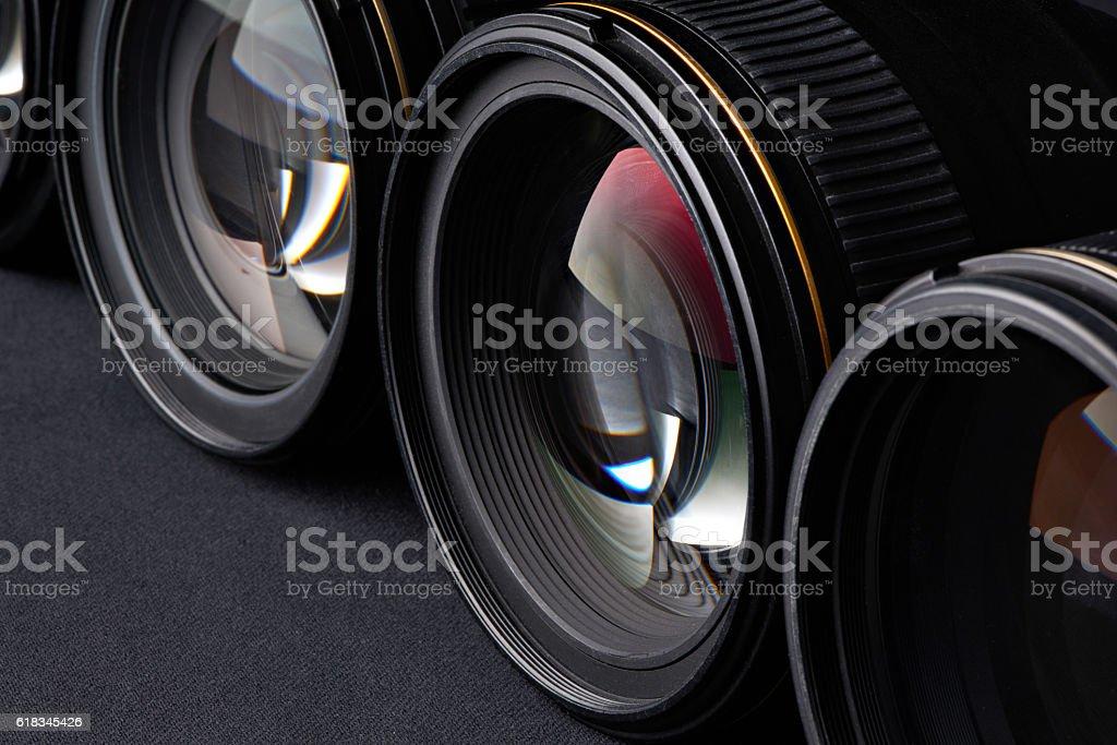 Photo lenses side view stock photo
