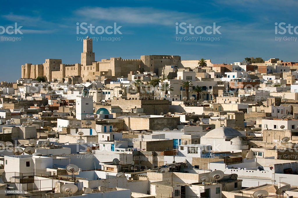 Photo looking out at cityscape of Sousse stock photo