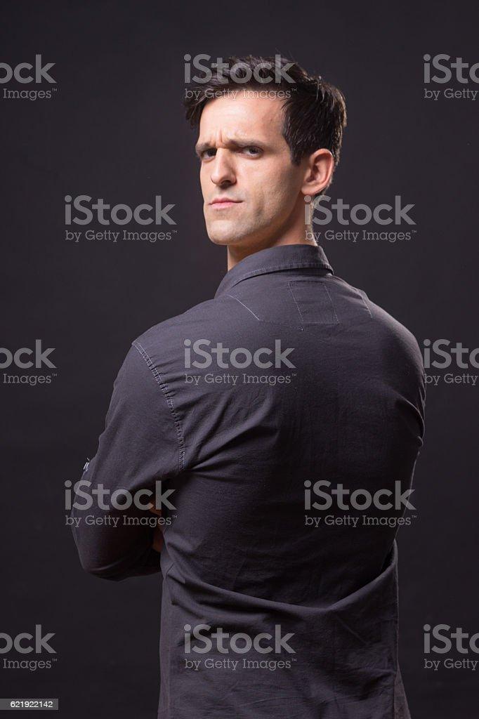 photo manipulation, head face backwards stock photo