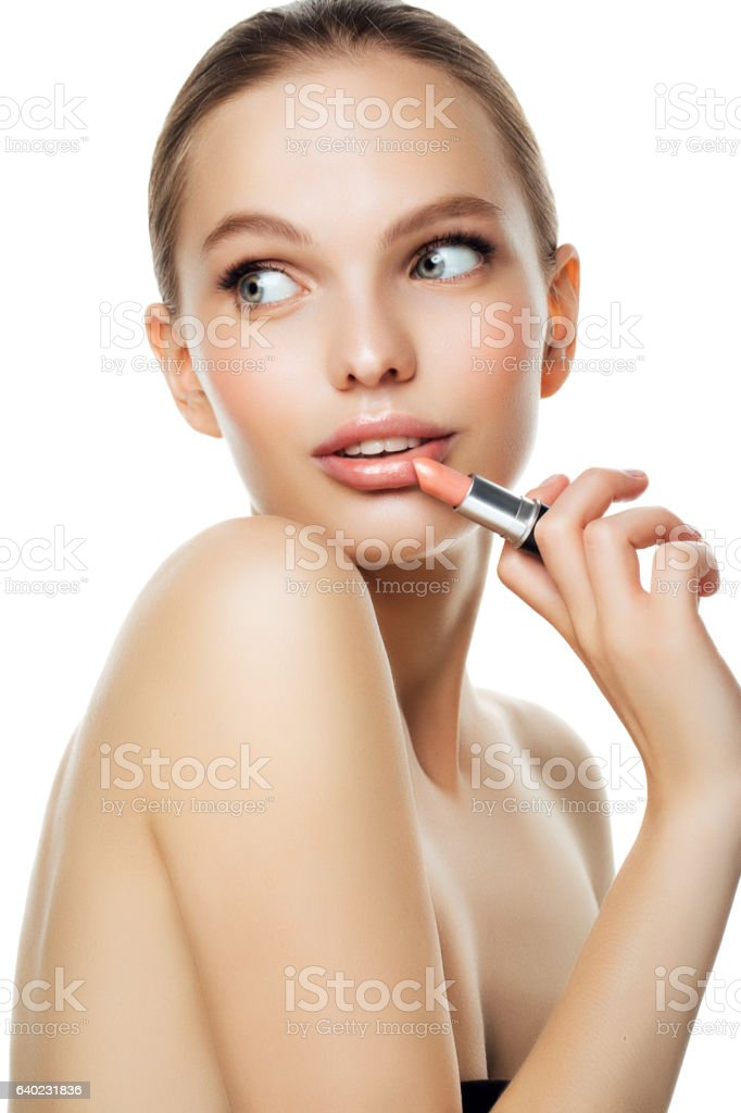 Photo of a beautiful girl with lipstick stock photo