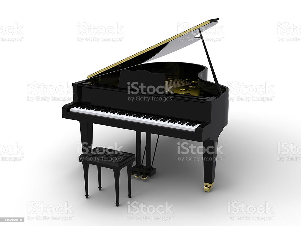 Photo of a black grand piano on a white background stock photo