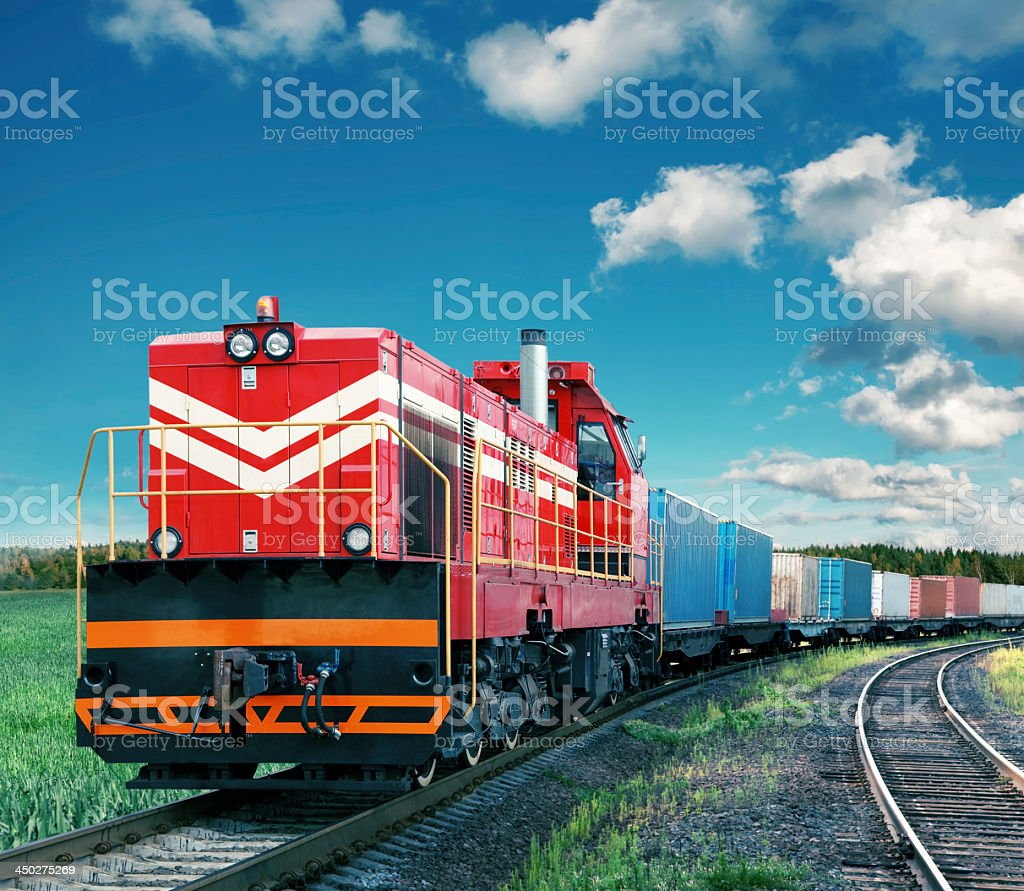 Photo of a colorful freight train stock photo
