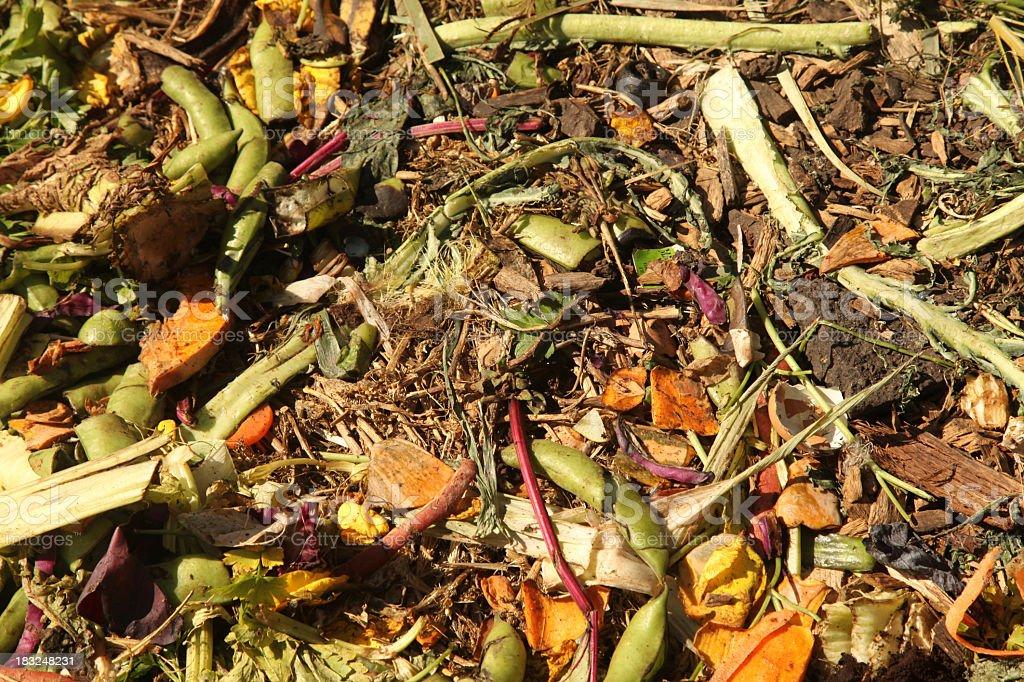 A photo of a compost heap in a garden stock photo