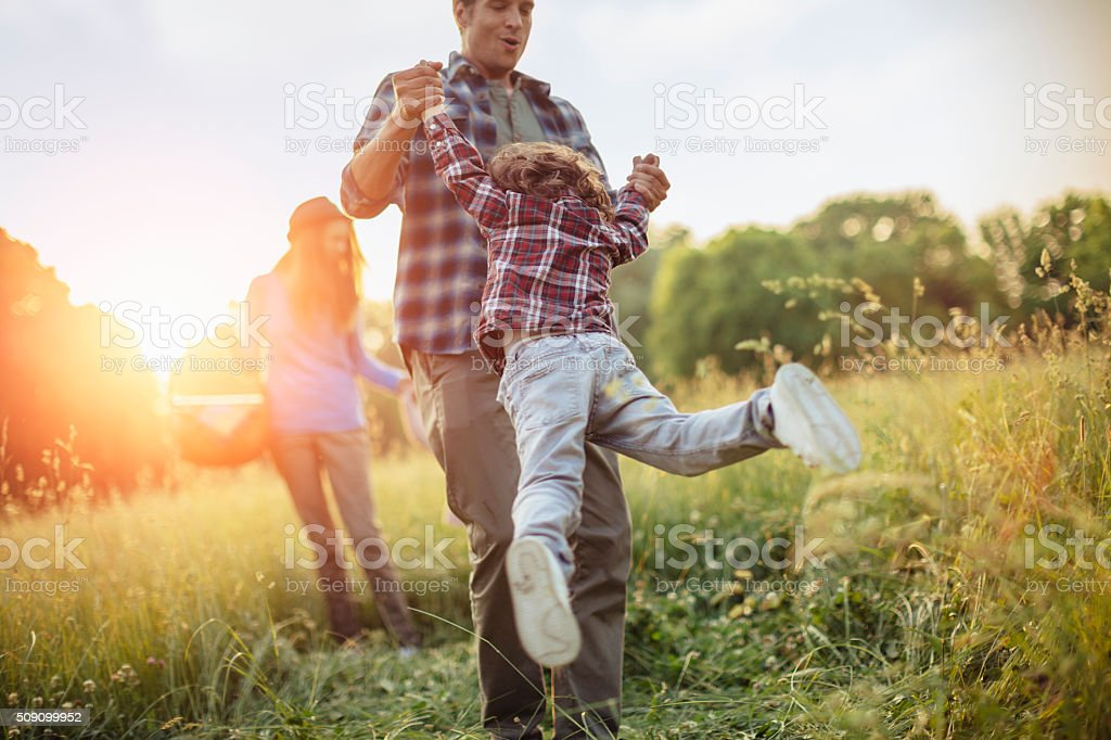 Photo of a family having fun stock photo